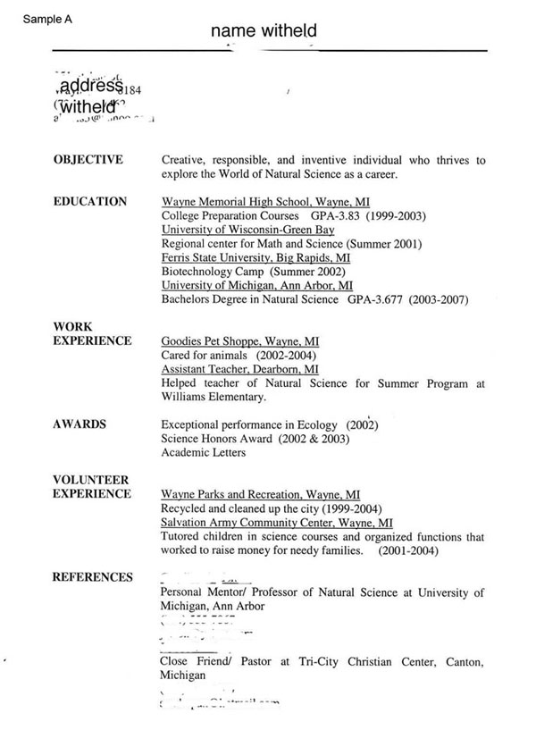Example ...  Resume Tips